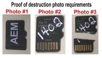 Three photos depicting chip destruction photo requirements